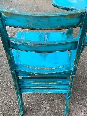 Vintage rare Student wooden chair and attached desk combo school house learning