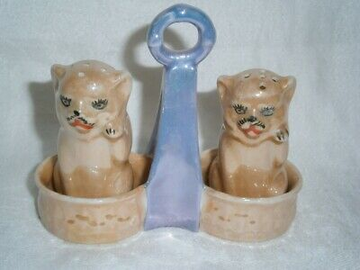 Pair Antique Lustre Ware Cats Salt & Pepper Shakers In Handled Stand Kitchenalia