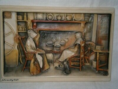 "Antique ""Ivorex"" 3D  Kitchen Scene "" A Friendly Call "" England Plaque Picture"