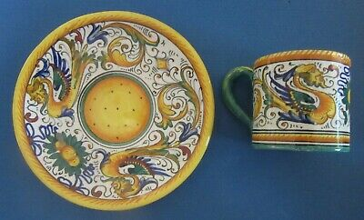 Italian Polychrome Majolica Pottery Rome Italy Demitasse Cup & Saucer