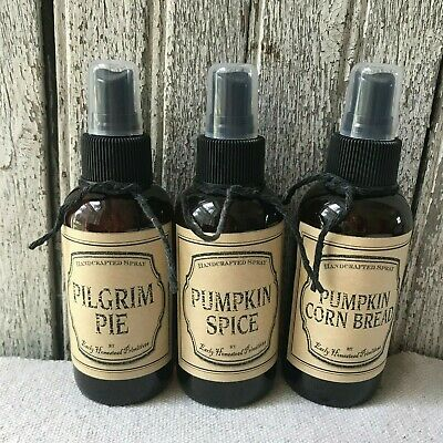 Set Of 3 Primitive 4 Oz. Sprays Pumpkin Cornbread -Pilgrim Pie- Pumpkin Spice