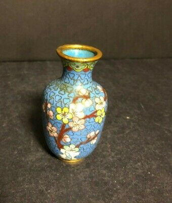 """Antique Solid Brass Cloisonne Vase Oriental Chinese Enamel Inlay Floral 3 1/4"""""""