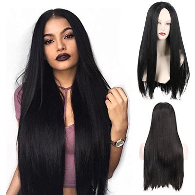 70CM Black Long Brazilian Straight Natural Wig Hair Full Wigs Party Women Lady o