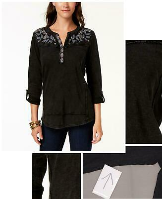 style & Co Womens Embroidered Cotton Roll-Tab-Sleeve Top. 100024480 Black S