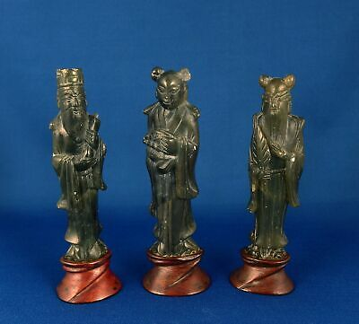 3 Antique Chinese Spinach Jade or Hardstone Immortals on Carved Wooden Stands