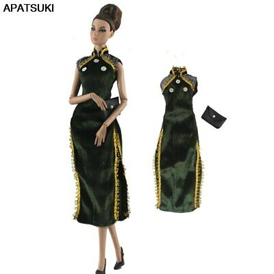 """Dark Green Chinese Qipao Cheongsam Dress For 11.5"""" 1/6 Doll Clothes Bag Outfits"""