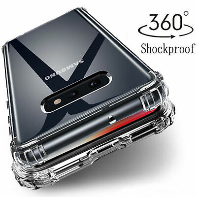 For Samsung Note 10+ S10 S9 S8 Shockproof Bumper Transparent Silicone Case Cover