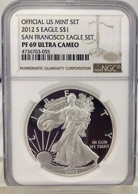 2012 S Proof American Silver Eagle NGC PF69UC San Francisco Set (055)