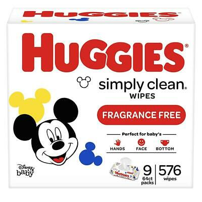 HUGGIES Simply Clean Fragrance-free Baby Wipes, Soft Pack (9-Pack, 576 Count