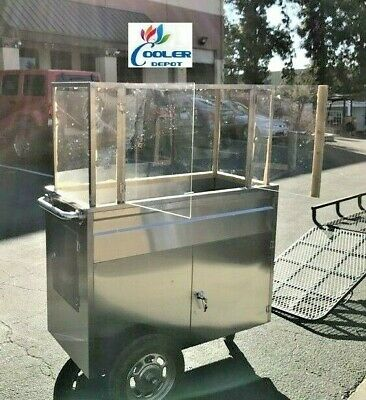NEW Fruit Cart Vending Concession Stand Stainless Steel Display Frutas Vendor