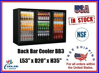 Commercial Back Bar Cooler Refrigerator 3 Door Glass Display L53 x D20 x H35 NSF
