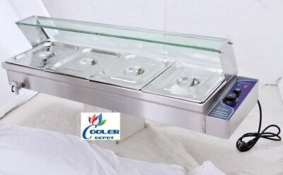NEW Commercial #4 Pan Table Counter Top Buffet Steam Warmer Server Catering