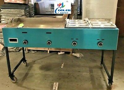 "NEW 66"" Taco Grill Griddle Cart Comal Asada Burger Pollo Model G36W2 Deep Fryer"