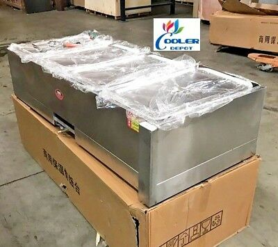 NEW Warmer Steam Table Food Server 4 Compartment Gas Propane Use (55 x 23 x 13)