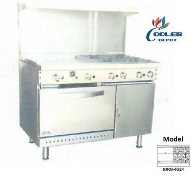 "NEW 48"" Oven Range Griddle + 4 Burner Combo Commercial Kitchen Made in USA NSF"