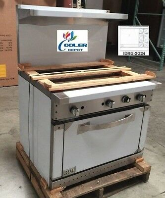 "NEW 36"" Oven Range Griddle 2 Burner Combo Commercial Kitchen Made in USA NSF"