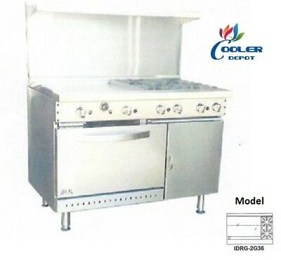 "NEW 48"" Oven Range Griddle + 2 Burner Combo Commercial Kitchen Made in USA NSF"