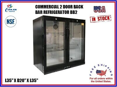 Commercial Back Bar Cooler Refrigerator 2 Door Glass Display L35 x D20 x H35 NSF