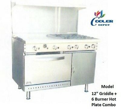 "NEW 48"" Oven Range Griddle + 6 Burner Combo Commercial Kitchen Made in USA NSF"