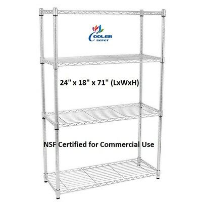 """NEW 24"""" x 18"""" x 71"""" 4 Tier Wire Metal Shelving Commercial Adjustable Shelf NSF"""