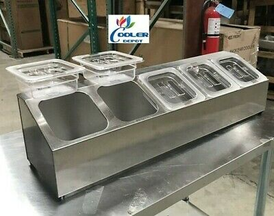 Stainless Steel Condiment Station Salsa Sauce Caddy 5 Container NSF Commercial