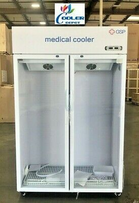"NEW 75"" Medical Cooler 2 Door Pharmacy Lab Clinic Refrigerator Medicine Cabinet"