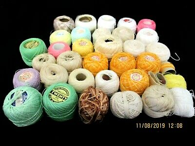 ~COATS/OTHER CHAIN MERCER CROCHET COTTON x 33 NEW & PARTIAL BALLS - COLOURED~