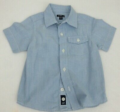 BABY GAP - Chambray Blue Short Sleeve Button Down Shirt size 2T