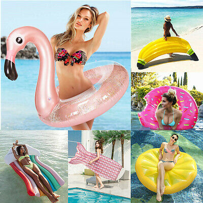 Inflatable Lilo Air Lounger Mat Bed Swimming Pool Beach Float Summer Holiday UK