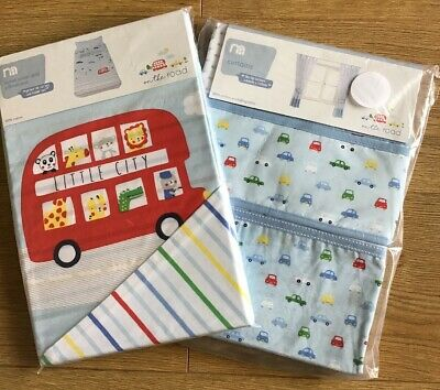 Mothercare On The Road Tab Top Curtains With Tie Backs & Duvet Cover Set 🚙 BNIP