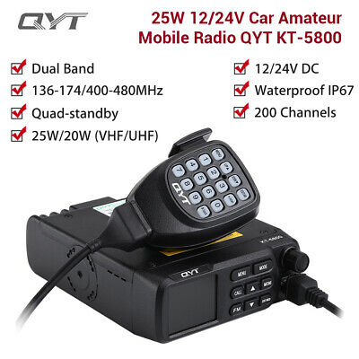 25W QYT KT-5800 Dual Band Car Radio VHF UHF 200 Channels Waterproof Transceiver