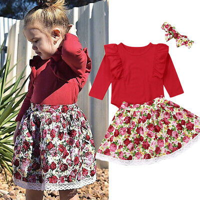 Newborn Infant Baby Girls Floral Outfit Clothes Romper Tops Dress Headband Sets