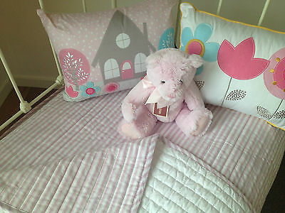 Girls Quilted Cot Coverlet Cameron Pink & White Stripe Cotton Crib Blanket