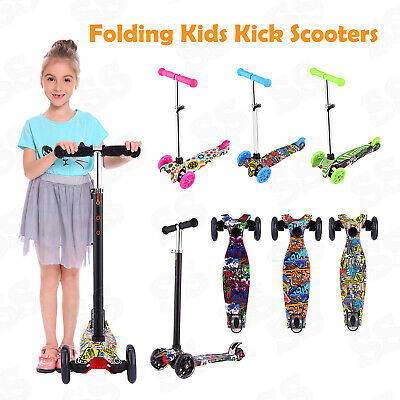 Folding 3 Wheels Kick Scooter For Toddler Kids Adjustable Height Outdoor Sports