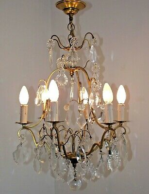 Beautiful Large Vintage French Chateaux Brass Cage 6 Arm Crystal Chandelier 1442
