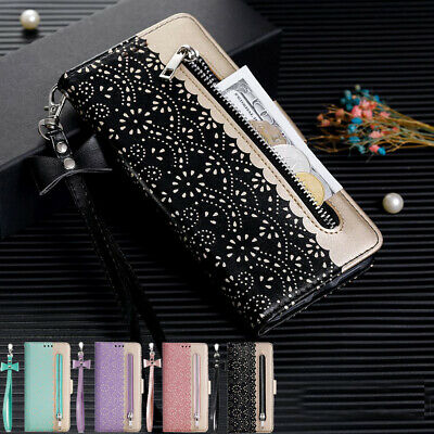 Samsung Galaxy A20 A30 A50 A70 Cards Slots Leather Zipper Wallet Flip Case Cover