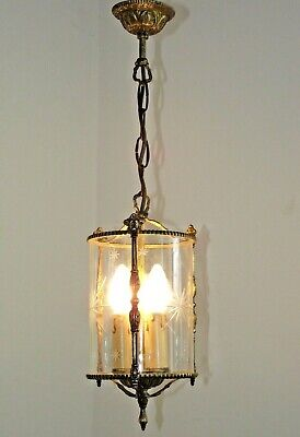 French Antique Ornate Bronze Lantern With 3 Lights Starburst Etched Glass 1444