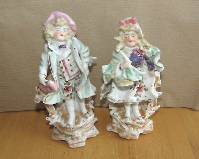 Antique Staffordshire?Gold Anchor Mark Porcelain Girl & Boy Figurine Spill vases