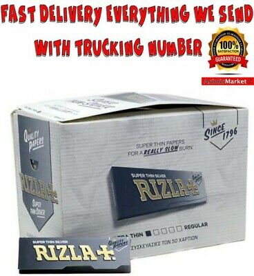 Rizla Silver Rolling Papers FULL BOX 100 Booklets SuperThin Standar-Regular Size