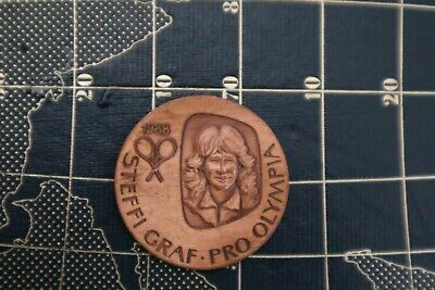 Vintage Steffi Graf Pro Olympia brass medal Seoul Olympics 1988 collectible rare