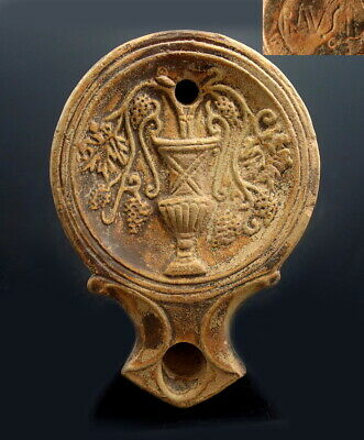 Roman Terracotta Oil Lamp Depicting Krater & Maker's Mark (M610)