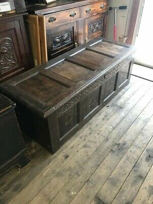 Large 1800s Oak Coffer Luggage Chest Trunk