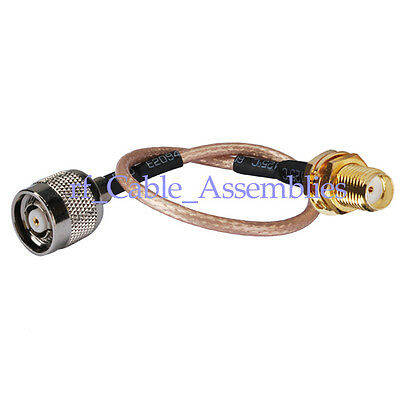 """RP-TNC Male to SMA female Jack WiFi Adapter pigtail cable RG316 6"""" for Wireless"""