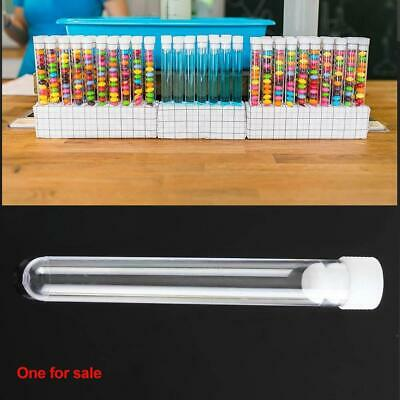 20pcs 15x100mm Clear Plastic Vials Lab Test Tubes with Caps Stoppers White 12ml