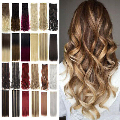 Hot Straight/Curly/Wavy Full Head Clip In 8/5 Clips As Human Hair Extensions DY
