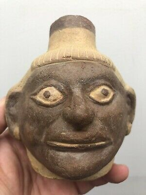 Rare Moche Head Pot Original Paint With Great Details And No Repair