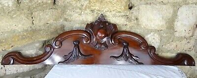 "50"" Antique Large French Carved Wood Pediment Crest  Mahogany"