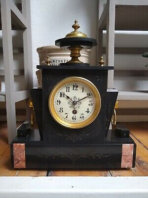 Antique  Petite French / Japy Freres Black Slate  Marble Mantle Clock