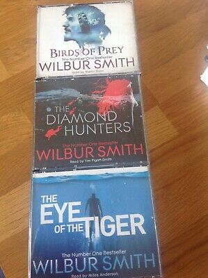 3 Wilbur Smith Audiobooks - Eye of the Tiger, Birds of Prey, The Diamond Hunters