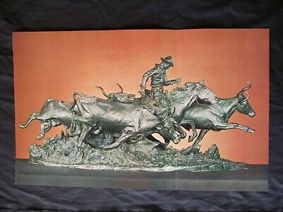 Frederick Remington Western Art Print of Cowboy Bronze He Created - The Stampede